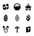 black easter icons set vector image