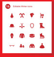 16 winter icons vector image vector image