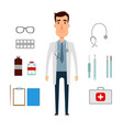 a doctor set of a man with medicine elements flat vector image vector image