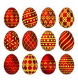 a set of red easter eggs with patterns vector image vector image