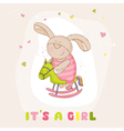 baby bunny on a horse - shower card