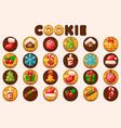 big set christmas and new year cookies vector image