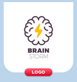 brain logo with thunderbolt design layout vector image vector image