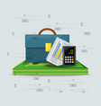 briefcase bills and calculator over a lot of vector image vector image