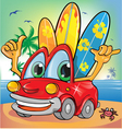 car holiday on summer background vector image vector image
