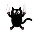 Cartoon black cat claw scratch glass White vector image vector image