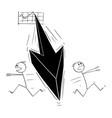 cartoon two men or businessmen running away in vector image