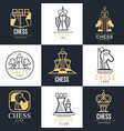 chess logo set design element for championship vector image