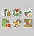 christmas new year icon sticker set isolated vector image