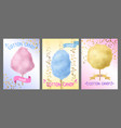 cotton candy colorful sugar floss on stick vector image vector image