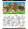 cows and bulls characters coloring book vector image vector image