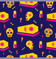 day of the dead holiday skull seamless pattern vector image