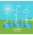 Eco energy banner Sun and wind power generation vector image