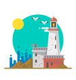 Flat design of lighthouse on a beach vector image vector image