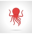 Flat style red octopus icon vector image