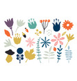 floral paper cut shapes in red pastel pink blue vector image vector image