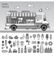 food truck on street line monochrome vector image