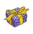 gift box with ribbons and bow sketch engraving vector image vector image