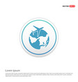 globe icon with plane - white circle button vector image vector image