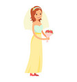 happy bride isolated on white vector image vector image