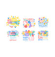 happy child holiday fun and game labels design vector image vector image