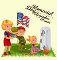 happy memorial day mother with child on cemetery vector image