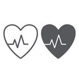 heartbeat line and glyph icon cardiogram and vector image