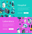 isometric hospital icons web banner vector image