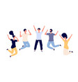 jumping young happy people man and woman vector image