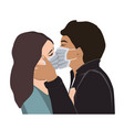 love on covid19 quarantine a passionate kiss vector image