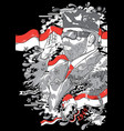 man with glasses and beard with indonesia flags vector image vector image