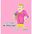 Mister Americano Coffee in hipster style vector image vector image