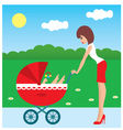 mother and carriage vector image vector image
