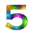 Number of colorful firework five vector image vector image