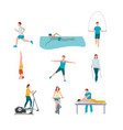 people training flat set vector image