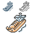 pixel icon gas tanker in three variants fully vector image