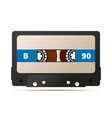 realistic black audio cassette with magnetic tape vector image vector image