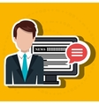 reporter avatar with computer isolated icon design vector image