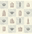 seamless pattern with keyholes and old buildings vector image vector image