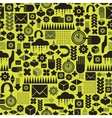 Seamless pattern with watch on green vector image vector image