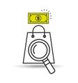 searching bag shop money design vector image vector image