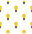 smiling light bulb with eyes pattern flat vector image vector image