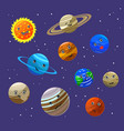 solar system planets and sun characters set vector image