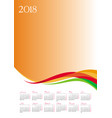 template of 2018 calendar on orange background vector image