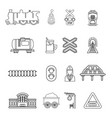 train railroad icons set outline style vector image vector image