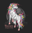 unicorn majestic full color vector image vector image