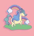 unicorn rainbows clouds fantasy magic cartoon vector image vector image