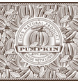 vintage pumpkin label on seamless pattern vector image