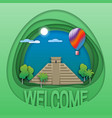 welcome to chichen itza travel concept emblem vector image