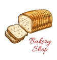 Wheat bread sketch for bakery shop design vector image